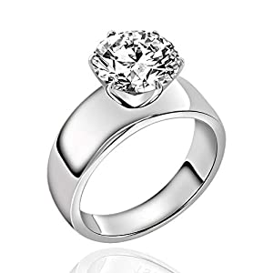 FlameReflection Stainless Steel Solitaire Ring, Wedding Engagement Promise Ring for Women, 1/1.3/4 Carat Cubic Zirconia…