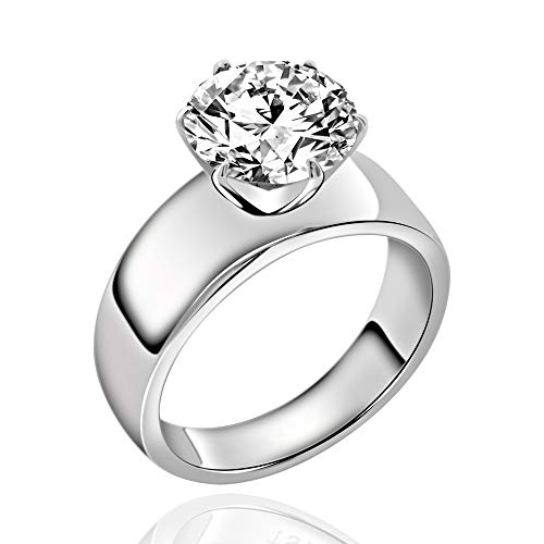 FlameReflection Stainless Steel Ring Round Shape Cubic Zirconia Engagement Solitaire Women Size 5-11 SPJ