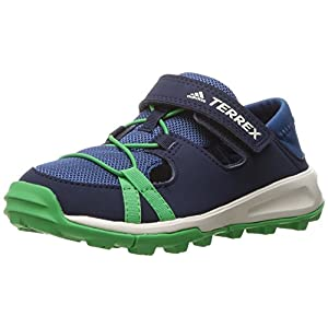 adidas Outdoor Kids' Terrex Tivid Shandal CF Water Shoe Sandal, Core Blue/Col. Navy/Energy Green, 11.5 M US Little Kid