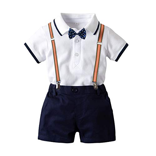 Baby Boys Short Sleeve Gentleman Outfit Suits,Infant Boys Short Pants Set, Short Sleeve Romper Shirt+Suspender Pants +Bow Tie 4Pcs Set (White, 0-9M/70)