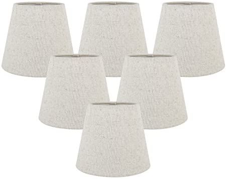 Meriville Set of 5 Natural Linen Clip On Chandelier Lamp Shades, 4-inch by 6-inch by 5-inch Natural, Set of 6