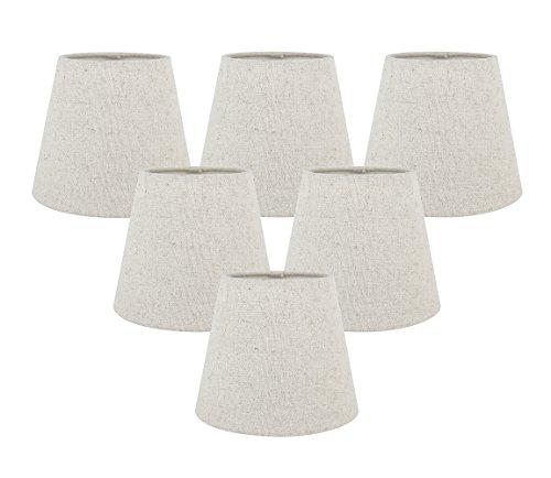 Meriville Set of 5 Natural Linen Clip On Chandelier Lamp Shades, 4-inch by 6-inch by 5-inch (Natural, Set of 6) ()