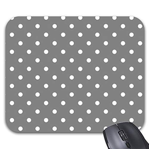 (Gray Polka Dot Template Mouse Pad Trendy Office Desk Accessory 9.25 x 7.5