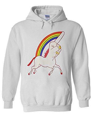 Unicorn Middle Finger Funny Novelty White Men Women Unisex Hooded Sweatshirt Hoodie-S