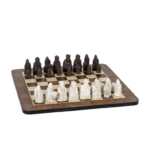 Wood Expressions WE Games Isle of Lewis Antiquity Chess Set - Polystone Pieces & Walnut Root Board 19 in.