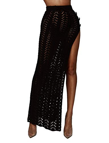 Womens Crochet Beach Cover Up Skirts Sexy High Waist Hollow Out Long Maxi Skirt Slit ()