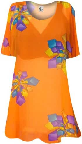 Womens Sheer Orange Geo Shapes Print Plus Size Supersize Cover Up T-Shirt