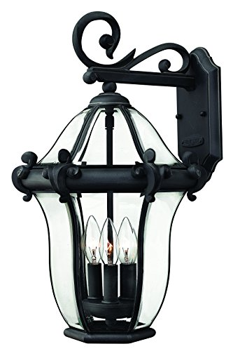 Hinkley 2444MB Traditional Three Light Wall Mount from San Clemente collection in Blackfinish,