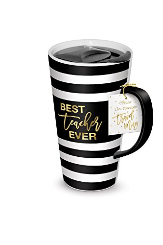 Lady Jane 13oz Spill Proof Ceramic Coffee Travel Mug with Lid Series (Best Teacher Ever)