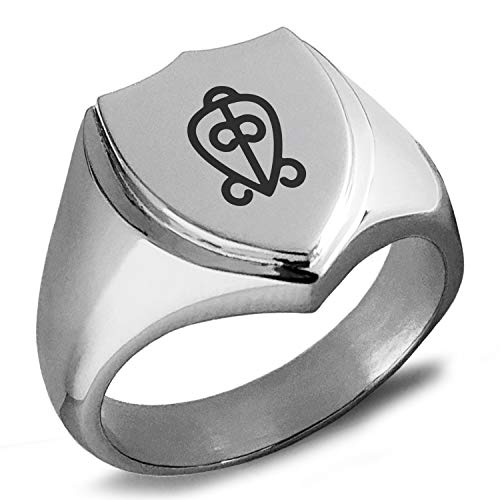(Tioneer Stainless Steel Aztec Power of Love Rune Shield Biker Style Polished Ring, Size 12)
