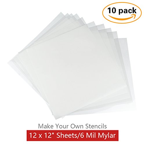 10 Pack 6 mil Blank Stencil Making Sheets 12 x 12 inch Ideal for Use with Cricut & Silhouette Machines(Mylar Material) by KOMIWOO