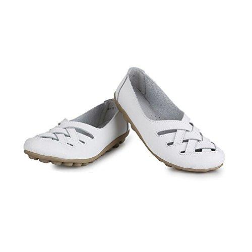 Angelliu Femmes Casual Confortable Creux En Cuir Travail Antidérapant Paresseux Doug Chaussures Mères Appartements Blancs