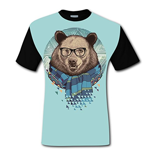 Crew Neck New Fashion Tshirts 3D Create My Own With Bear Glasses For Men - My Glasses Own Design