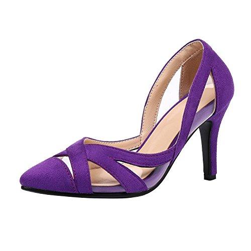 Elegante YE Spillo da Sposa col Alto Slip Scarpe Viola Chiusa Tacco a Donna a Punta on Urwq86AU