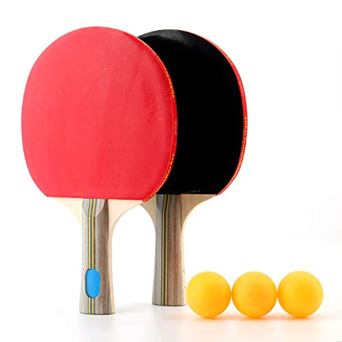- Tebery Table Tennis Ping Pong Set Advanced Training Double-Sided Reverse Rubber Ping Pong Paddle with Carry Case Set of 2 Table Tennis Rackets with 3 Balls