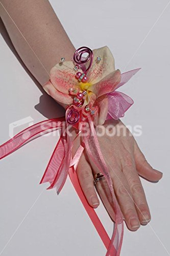 Gorgeous Peach Pink Real Touch Orchid Wedding Wrist Corsage ()