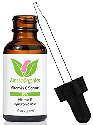 Amara Organics Vitamin C Serum for Face 20% with Hyaluronic Acid & Vitamin E, 1 fl. oz. by Amara Organics