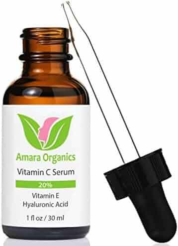 Amara Organics Vitamin C Serum for Face 20% with Hyaluronic Acid & Vitamin E, 1 fl. oz.