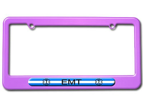 Graphics and More Thin White Line - EMT Star of Life License Plate Tag Frame - Color Purple (Emt License Plate Frame compare prices)