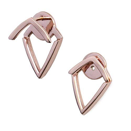 Earrings Triangle Vermeil - TRILL EAR JACKETS 18K Rose Gold Vermeil Diamond Wishbone Stud Earrings   Can Be Worn 2 Ways   Hypoallergenic   925 Sterling Silver base   Women Jewelry   Birthday Spring Summer gifts for her