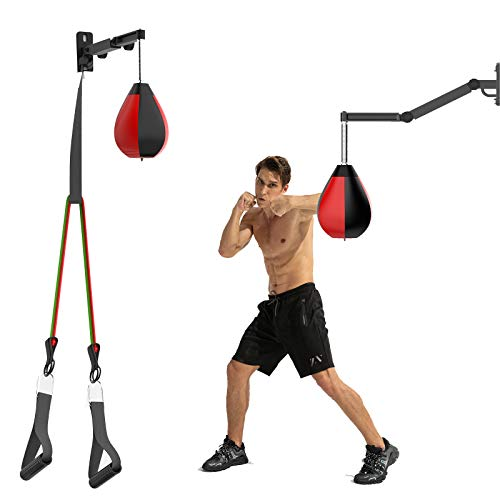 DOHOO Speed Bag Height Adjustable Wall Mount Boxing Punching Bag for Adults, Perfect for Home Gym Relaxation Workout
