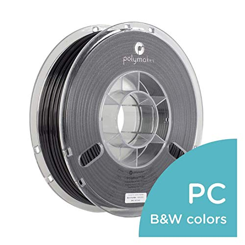 Polymaker 3D Printer Filament, PC Filament, PC-Max (1.75 mm, 750 g) True Black 3D Printing Filament, 110℃ Heat Resistant, Harder and Stronger Than Regular PC [Random Outer Packaging]