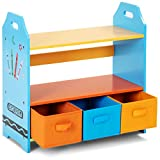 Costzon Crayon Themed 2-Tier Kids Bookshelf with 3 Storage Bins Children Book Rack Toys Organizer Bookcase (Crayon Design with Bins)