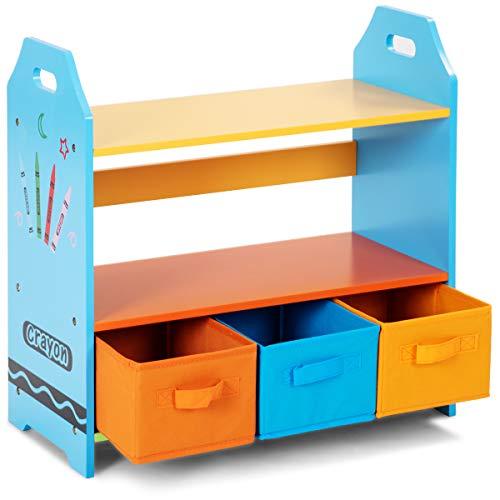 Costzon Crayon Themed 2-Tier Kids Bookshelf with 3 Storage Bins Children Book Rack Toys Organizer Bookcase (Crayon Design with Bins)
