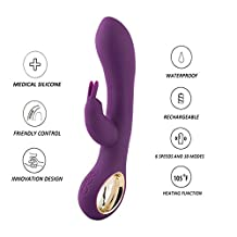 Women Vibrator Vibrateur Dildo Heating Rechargeable Waterproof Silicone Adult Female Sexuel Rabbit Dual Motor 6 Powerful and 10 Patterns Speed G-spot and Clitoral Wireless Wand Massager for women (Purple)