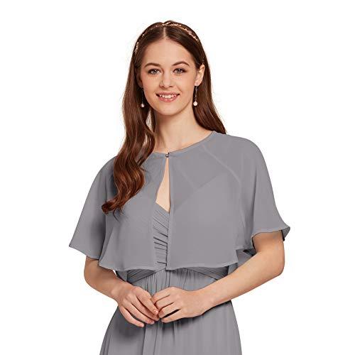 (AW Women's Chiffon Wrap Shawl Shrug Wedding Cape Bolero Jacket Evening Coat Cover Up, Dove, S)