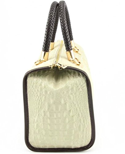 Chamois Croco Modèle vrai en Bauletto Italy in imprimé Sac cuir Isa Beige Made crocodile Superflybags vgpqRwBXxw