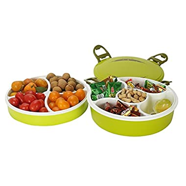 Astra Gourmet Creative Multi Sectional Double Dish Snack Serving Tray Set with Lid, BPA Free, Can Hold Dried Fruits, Nuts, Candies, and More(Green)