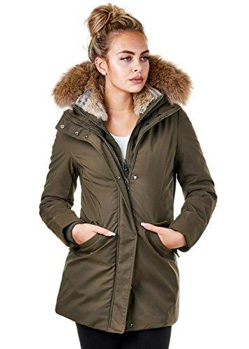 5873bf5db318 EightyFive Damen Winter-Jacke Echt-Fell-Kapuze Schwarz Pink Khaki Beige  EF1837 Khaki