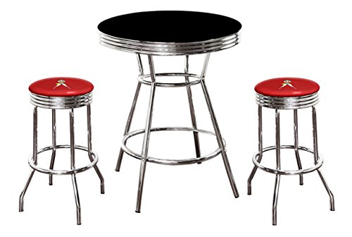 The Furniture Cove New 3 Piece Wonder Woman Metal Bar Table Set with Black or White Top and 2 Bar Stools with Your Choice of Seat Cushion Vinyl Color (Black Table, Red Vinyl)