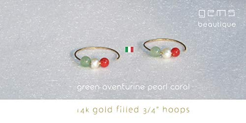 GemsBeautique Small Gold Hoops Italian Earings. Flag of Italy Gold or Silver 3/4
