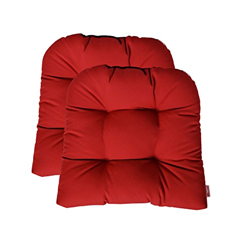 Set of 2 - Universal Tufted U-shape Cushions for Wicker Chair Seat - Sunbrella Canvas Jocky Red by RSH Decor (Image #6)