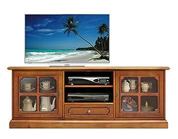 Mobile Porta Tv Libreria Classico Legno.Mobile Porta Tv In Stile Classico Con Vetri Nelle Ante Per