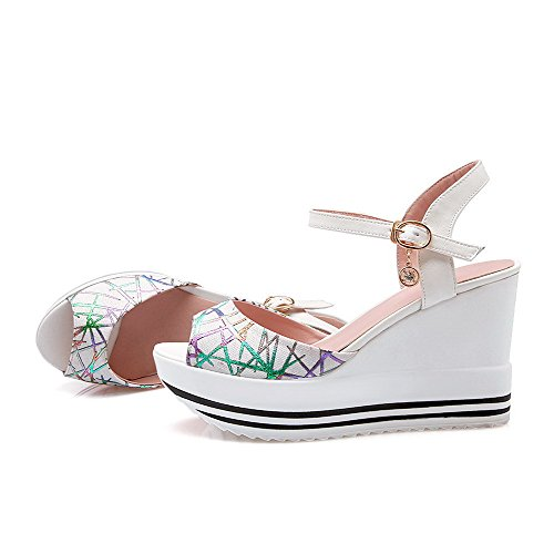 Color High White Open Women's Sandals Soft Heels Toe AllhqFashion Assorted Material Buckle tT8x5q5