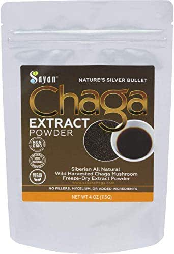 Sayan Siberian Wild Harvest Organic Chaga Mushroom Extract Powder 4oz /113g Powerful Immune System and Energy Booster, Antioxidant Tea, Promote Digestion, Focus, Clarity. Instant Coffee Mix Supplement
