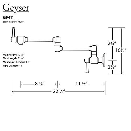 Geyser GF47-B Stainless Steel Pot Filler Kitchen Faucet Wall Mount 2 Handles