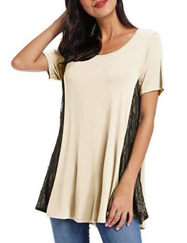 AUPYEO Womens Lace Tunic Top Short Sleeve Swing T Shirt for Leggings Beige (Tunic Beige Lace)
