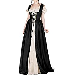 Dellytop Women Medieval Dress Renaissance Lace up Vintage Floor Length Cosplay Long Costumes