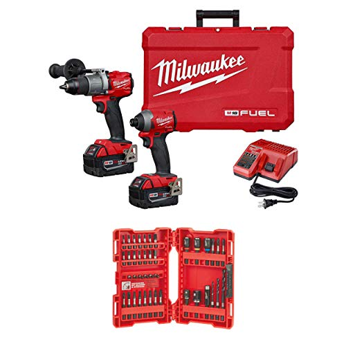 Milwaukee 2997-22 M18 Hammer Drill/Impact Driver Kit With 48-32-4006 40-Piece Shockwave Impact Duty Drill And Drive Set