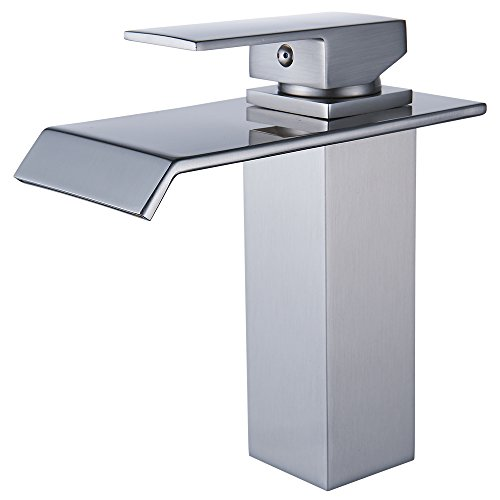 Waterfall Handle Single (Yodel Single Handle Waterfall Bathroom Vanity Sink Faucet (Brushed Nickel Rectangular))