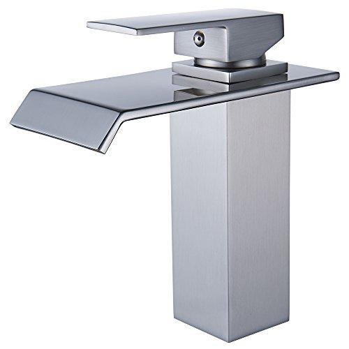 Yodel Single Handle Waterfall Bathroom Vanity Sink Faucet (Brushed Nickel ()