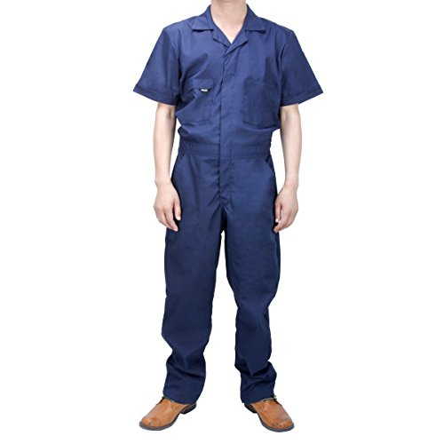 - Akicon Men's Basic Short-Sleeve Workwear Coverall Breathable Wear-Resistant Navy