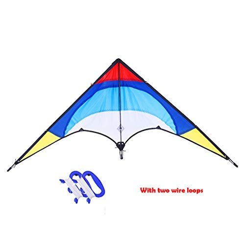 (Trick Kite - Huge Rainbow Kite - Ideal for Kids & Adults - Easyasy Fly for Kids and Beginners, Single Line Shark w/Tail Ribbons, Stunning Colors, Large, Meticulously Designed and Tested - USA Shipping)