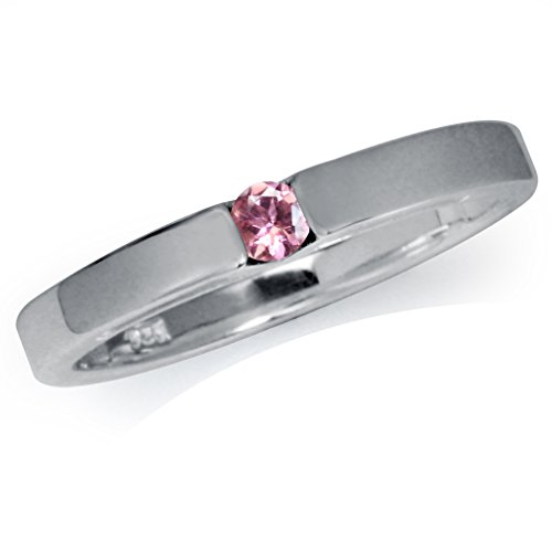 - Natural Pink Tourmaline 925 Sterling Silver Solitaire Ring Size 5