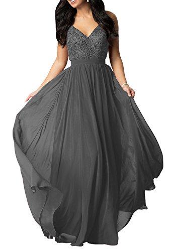 La_mia Brau V-ausschnitt Spitze Chiffon Lang Abendkleider Brautmutterkleider Partykleider Abschlussballkleider A-linie Grau UKMpN