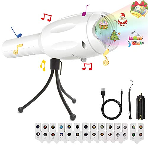 Musical Light Projector Flashlight, Music Portable LED Projector Light & Handheld Bright Flashlight with 12 Slides USB Charging Cable Tripod Decoration for Parties, Christmas, Halloween (White) -